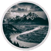Snake River In The Tetons - 1930s Round Beach Towel