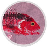 Gyotaku Snapper Round Beach Towel by Captain Warren Sellers
