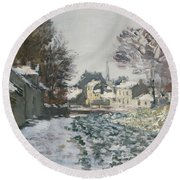 Snow At Argenteuil Round Beach Towel by Claude Monet