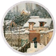 Snow At Louveciennes  Round Beach Towel