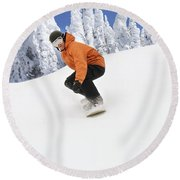 Snowboarder Going Down Snowy Hill Round Beach Towel
