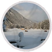Snowed Under Round Beach Towel