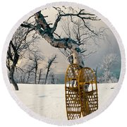 Snowshoes Leaning Against Birch Tree Snowscape Round Beach Towel