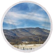 Snowy High Peak Mountain Round Beach Towel