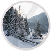 Snowy Trees Round Beach Towel