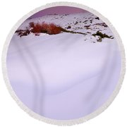 Soft Snow At Sunset Round Beach Towel