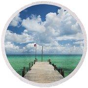 Sok San Pier On Long Beach In Koh Rong Island Cambodia Round Beach Towel