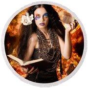 Sorcerer Casting Black Magic Spells Of Fire Round Beach Towel