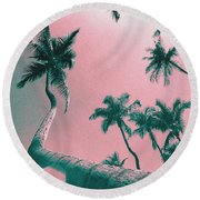 South Beach Miami Tropical Art Deco Wide Palms Round Beach Towel