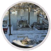 South Bristol And Fishing Boats On The Coast Of Maine Round Beach Towel by Keith Webber Jr