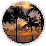 South Florida Sunset Round Beach Towel