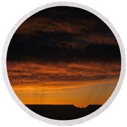 South Rim Grand Canyon Dramatic Clouds Sunset With Silhouetted R Round Beach Towel