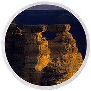 South Rim Grand Canyon Taken Near Mather Point Sunrise Light On  Round Beach Towel