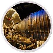 Space Rocket Thrust Engine Round Beach Towel
