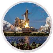 Space Shuttle Atlantis Launch Round Beach Towel