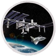 Space Station In Orbit Around Earth Round Beach Towel