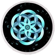 Spirit Of Water 1 - Blue With Water Drops Round Beach Towel