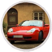 Sport Car In The Old Town Scenery Round Beach Towel