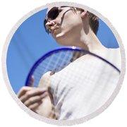 Sporting A Racquet Round Beach Towel