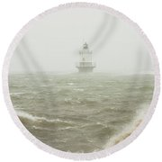 Spring Point Ledge Lighthouse In Storm In Portland Maine Round Beach Towel