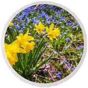 Spring Wildflowers Round Beach Towel