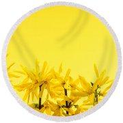 Spring Yellow Forsythia  Round Beach Towel