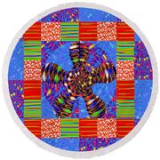 Squares Lines Dots Symbol Infinity Red Purple Blue Green Colorful Waves Unique Background Designs  A Round Beach Towel