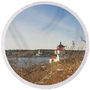 Squirrel Point Lighthouse Kennebec River Maine Round Beach Towel