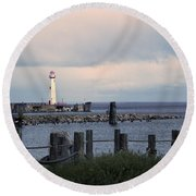 St. Ignace Light Round Beach Towel