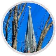 St. Marys Church Steeple Of St Marys Church Round Beach Towel