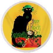 St Patrick's Day - Le Chat Noir Round Beach Towel