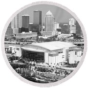 St. Pete Times Forum And Tampa Skyline Round Beach Towel