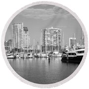 St Petersburg Yacht Basin Round Beach Towel