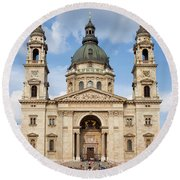 St. Stephen's Basilica In Budapest Round Beach Towel