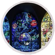 Stained Glass Chagall Windows Round Beach Towel