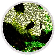 Stained Glass Panda 2 Round Beach Towel