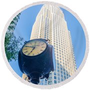 Standing By The Clock On City Intersection At Charlotte Downtown Round Beach Towel