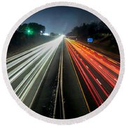 Standing In Car On Side Of The Road At Night In The City Round Beach Towel