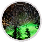 Star Trails And Northern Lights In Sky Over Taiga Round Beach Towel