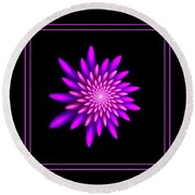 Starburst-32 Framed Black And Pink Round Beach Towel