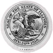 State Seal Illinois Round Beach Towel