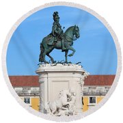 Statue Of King Jose I In Lisbon Round Beach Towel
