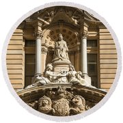 Statue Of Queen Victoria At Town Hall Of Sydney Australia Round Beach Towel
