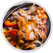 Steak Fajitas Round Beach Towel