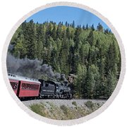 Steam Engine 488 At Osier On The Cumbres And Toltec Scenic Railroad Round Beach Towel
