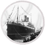 Steamship Accident, 1914 Round Beach Towel