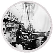 Steamship 'great Eastern Round Beach Towel