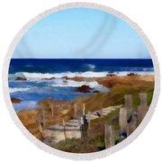 Steps To The Sea Round Beach Towel by Barbara Snyder