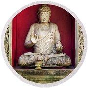 Stone Statue Of Buddha In Bali Indonesia Round Beach Towel