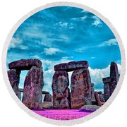 Stonehenge In The English County Of Wiltshire Round Beach Towel